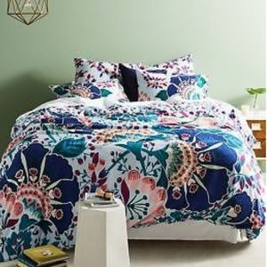 Liberty for Anthro Embroidered Feather Bloom Duvet